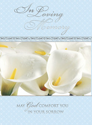"""Prayer Intention Card -""""In Loving Memory"""". 4-7/8"""" x 6-3/4"""". Gold Foil (full color on back of card). 50 per box.  Standard Inside verse:  The Holy Sacrifice of the Mass will be offered for the repose of the soul of ________ Rev_______(right side) Cross (graphic) With the sympathy of _________ (left side)"""