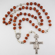 Pope Francis Rosary ~ 6mm Brown Wooden Beads. Silver Oxidized San Damiano Crucifix ~ Centerpiece has a photo of Pope Francis