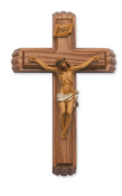 """This 12"""" walnut crucifix forms the lid for a box with a small vial for holy water and two candles nestled inside. Packaged in a deluxe gift box."""