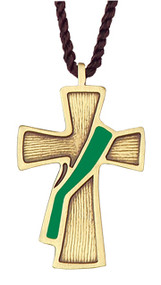 "2 1/2"" Bronze Deacon's Cross with Green Sash on a brown cord. Appropriate for the folowing occasions:  * Time After Epiphany  * Time After Pentecost"