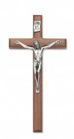 """Beveled Walnut Cross with Silver Corpus. Available in 8"""", 10"""", or 12"""" heights. Packaged in a deluxe gift box. Ideal wedding or house warming present"""