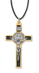 """3"""" Gold with Black Enamel St. Benedict Crucifix Pendant. Includes a leather cord and is packaged in a deluxe gift box"""