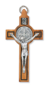 """3"""" Olive Wood St. Benedict Crucifix Pendant. Includes a leather cord and is packaged in a deluxe gift box"""