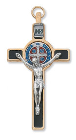 "Black Enamel 3"" Gold St. Benedict Crucifix Pendant with and Blue and Red Enamel Center . Includes a leather cord and is packaged in a deluxe gift box."