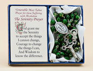 "Venerable Matt Talbot ~ Pray for those suffering from Alcoholism. This 20"" rosary features green glass beads with a touch of gold and has a crucifix with Venerable Matt Talbot medal attached. Serenity Prayer Card is included. A  great comfort gift for those suffering with alcoholism."
