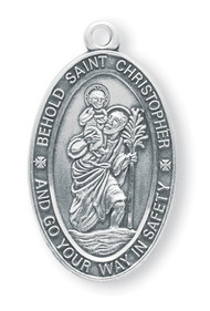 """Behold St. Christopher and Go Your Way in Safety"" etched around the edge of this 1 1/16"" St. Christopher Medal.  Comes with a 24"" Chain. Medal is sterling silver with a genuine rhodium-plated, stainless steel chain. Comes in a deluxe velour gift box"