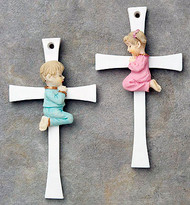Handpainted Cross Adorned with Praying Boy or Girl