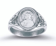Sterling silver Sacred Heart Scapular Ring with Our Lady of Mt. Carmel Symbol on Inside. Ring comes in a deluxe velour gift box. Sizes 5-9. Limited Lifetime Guarantee from defects in material and workmanship. Call 1800 523 7604 for special sizing other than what is listed.