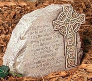 """Celtic Cross Garden Stone Inscribed with a traditional Irish Blessing. Resin/stone mix. Dimensions: 8.325""""H x 9.25""""W x 3.75""""D"""