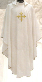 Chasuble with Square Collar. Imported from Italy. Primavera Fabric (100% Polyester) with embroidered cross on the front only, with inside stole. Matching Dalmatic, Overlay and Deacon Stole Available. Available in Purple, Red, Rose, White and Green. These items are imported from Europe. Please supply your Institution's Federal ID # as to avoid an import tax. Please allow 3-4 weeks for delivery if item is not in stock