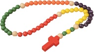 """Child's First Wooden Rosary. Share and pray the rosary with a child!  This colorful non-toxic rosary is a 30"""" strand of 1/2"""" wooden colored beads. Non recommended for children under 3 years old. Nicely gift packaged."""