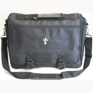 """Black Briefcase embroidered with """"Deacon Cross"""" or """"Clergy Cross"""". Dimensions: 15.5""""W x 12.5"""" H x 3.5""""d. Expands to 6-1/4"""". Zippered bottom gusset. Great for laptops. Black Woven Polyester or Black Imitation Leather"""