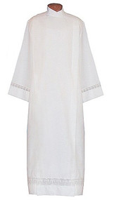 Alb Embroidered with One Inch Lace with Latin Crosses on Sleeves and. Three Inch Lace with Latin Crosses on Bottom. Tailored from tropical weight poly/wool blend easy to care and washable. Button or Velcro closure available please specify. Ample Cut sizes available upon request, please contact us at 800-523-7604 for details