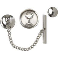 First Communion Sterling Silver Round  Chalice Tie Tack