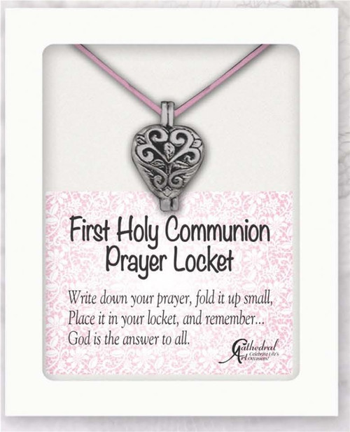 Holy Communion Pewter Heart Shaped Prayer Locket on Pink Satin Rope