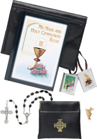 Boy's First Communion Black Leatherette Missal Set (Please note the pin is silver NOT Gold as pictured)