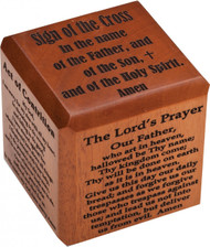 "2 1/2""  Prayer Cube made of mahogany with 6 Prayers in Laser Cut Lettering.  The 6 Prayers include: The Our Father, Hail Mary, The Act of Contrition, Prayer to St. Michael, Glory Be, &  The Sign of the Cross"