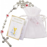 First Communion Rosary,  Pearl Beads, Roses with Chalice Centerpiece