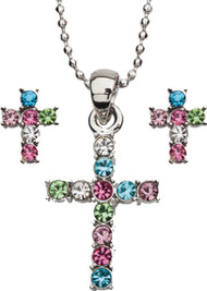"Pastel Colors Cubic Zirconia Cross Necklace and Earring Set. Rhodium Plated 16"" Bead Chain. Gift Boxed."