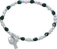 Green and Pearl Beaded Stretch Bracelet with Celtic Cross and Miraculous Medal in Heart Charm