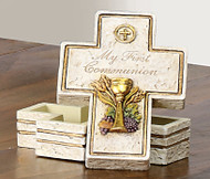 "My First Holy Commmunion Rosary Box. Resin/Stone Blend. Measures 3.5"". Gift Boxed"