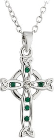 Celtic Cross Pendant with Green Stones