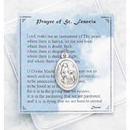 "Prayer of St. Francis -Inspirational Moments Prayer Card. ""Lord Make Me a Channel of Your Peace..."" Perfect for purse, briefcase or pocket, this small devotional remembrance is a helpful way to encourage you to have an inspirational moment every day. Each vinyl folder contains a prayer card and devotional medallion remembrance.  Card Size: 2.75"" x 3"""