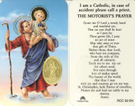 St. Christopher/Travel, Prayer Card with Embossed Medal