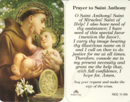St. Anthony, Prayer Card with Embossed Medal