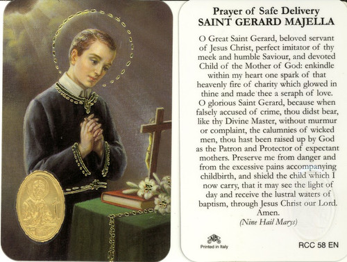 St Gerard Prayer Card With Embossed Medal Jude