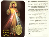 Divine Mercy, Prayer Card with Embossed Medal