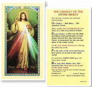 The Chaplet of Divine Mercy,  Laminated Holy Card