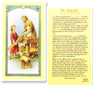 St. Joseph the Worker Laminated Holy Card