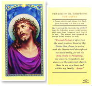 St. Gertrude, Prayer for Souls in Purgatory,  Laminated Holy Card,