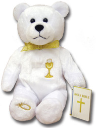 """9"""" Tall Bear has an  Embroidered Chalice on his Chest. Bear is also Holding a Bible. Similar to the Popular Beanie Babies"""