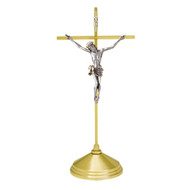 """Solid Brass, Satin Finish Crucifix. Oxidized Silver Corpus. 15"""" Height. 5"""" Base. Complementary candlestick K525-CS"""