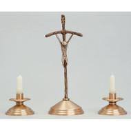 "Pope John Paul Crucifix. Bronze, Satin Finish Crucifix. Oxidized Silver Corpus. 15"" Height. 5"" Base. Complementary Candlestick K525-CS"