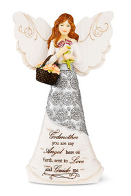 """6"""" Angel w/Basket of Flowers. Inscribed with: """"Godmother you are my angel here on Earth sent to Love and Guide me."""""""