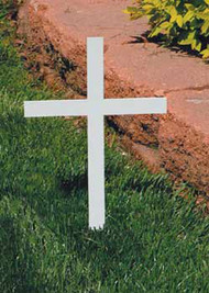 """Memorial Cross without Plaque. Made of steel with a durable protective white powdercoat finish. 12"""" Height overall, 8 1/4"""" Width, 3/16"""" Thick. Engraving Plaques - See Item KOL-ENG1. Mounted Plaques 1x3"""". All Bright Brass Blank Plaques $9.50 . With """"In Memory of""""and the deceased persons name engraved Flat Fee  $15.00. Engraving Plaques - See Item KOL-ENG1"""