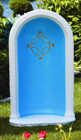 """49"""" Round Grotto for 36"""" Statue. H: 49"""", BW: 29"""", BL: 18.5"""". Weight: 295 lbs. Detailed Stain. Allow 3-4 weeks for delivery ~ Call for shipping pricing. Made in the USA!"""