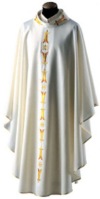 Chasuble 752, Misto Lana Fabric, Wool and  Polyester Blend, Stand Up Collar
