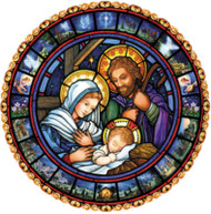 """This jumbo size Advent calendar will be the highlight of any room it's displayed in! Detailed depictions of the Christmas story surround the Holy Family. Prepare for Christmas by opening a window each day during Advent to reveal a special picture. The front is accentuated with glitter and bible text that follows the story of the Nativity is presented on the back of each window. Image is duplicated on reverse side. Diameter is 17"""". Easy to hang or display anywhere!"""