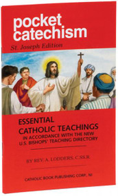"""The Pocket Catechism is a handy pocket-sized compendium of essential Catholic teachings. This booklet, now beautifully illustrated in full color, provides right answers about the essentials of the Catholic faith to all who are seeking religious truth. Written by Redemptorist Father A. Lodders,  in an easy-to-understand question-and-answer format, this paperback Pocket Catechism  will benefit parents, children, and teachers. 4"""" x 6 1/4"""" ~ 64 pages ~ Flexible Cover"""