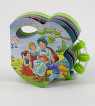 """This is part of a new series of books that combines a rattle with a small board book to appeal to God's littlest ones. The playful illustrations will delight little eyes as they see many of the best-loved Saints come to life in bright and vivid colors. Hardcover ~ 14 pages ~ 5"""" x 4 3/4 """""""