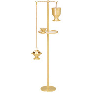 "Censer Stand with circular base.  Satin or High Polish Brass. 50""H, 9"" or 10"" Base. Furnished with a humeral veil hanger for an additional cost."