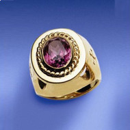 Bishops Ring, 14K Gold with Synthetic Amethyst,  4372