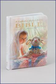 "An illustrated First Bible for a Catholic baby that comes complete with certificate and family history pages. White Padded Hardcover with Gold edges. . 3 1/2 x 4 1/2"" ~ 96 pgs ~ Gift boxed."