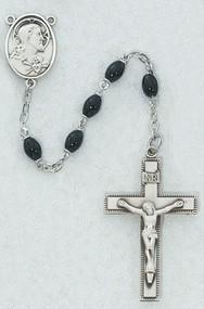 Pewter, Black Oval Glass Bead, Sacred Heart of Jesus Center Rosary