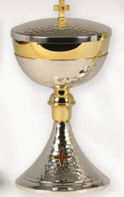 "Gold and silver plated.9"" H., 4 5/8"" diameter cup. 4 1/2"" base. 300 host capacity based on 1 1/8"" host."