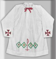 Embroidered Surplice in Multicolor pattern as pictured. Lightweight polyester and combed cotton. Wash and wear. Permanent Press. Matching Alb Available (Style 7PR)